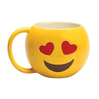 Emojicon Heart Eyes Emoji Ceramic Coffee Mug with OMG  - 16 oz.