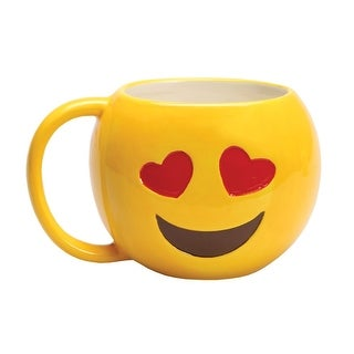 Emojicon Heart Eyes Emoji Ceramic Coffee Mug with OMG - 16 oz.