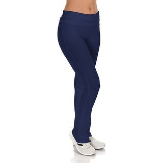 Simpy Ravishing Cotton Fold-Over Waist Yoga Boot Cut Pants (Size: XS-5X)