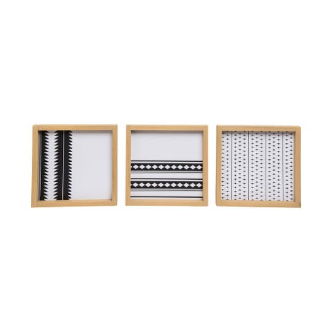 Foreside Home & Garden Set of 3 9.5 inch Diameter Black and White Patterned Wood Wall Decor