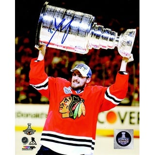 Marcus Kruger Signed Blackhawks 2015 Stanley Cup Trophy 8x10 Photo