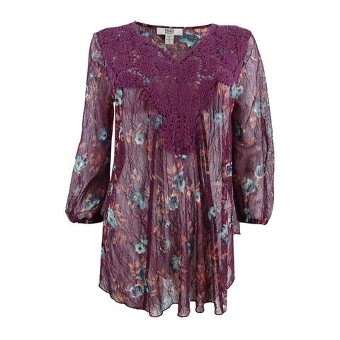 Vintage America Women's Printed Lace-Trimmed Top