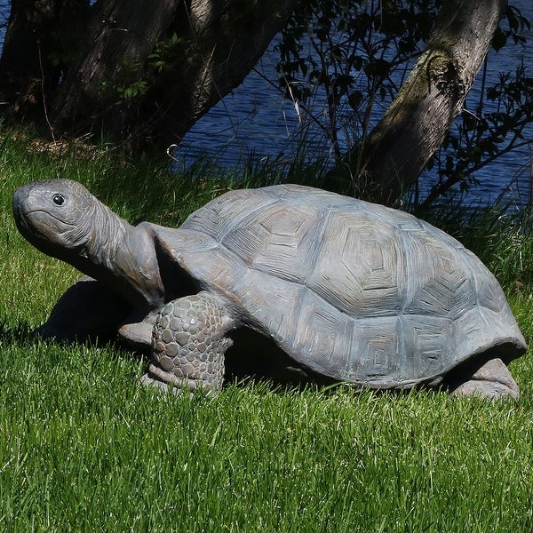 Sunnydaze Poly-Concrete Tortoise Statue Collection Multiple Options