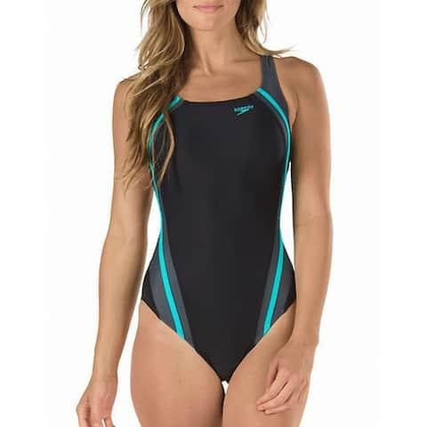 Speedo Womens Swimwear Black Bali Blue Size 6 Hydro Bra One-Piece