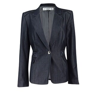 Tahari Women's Denim Flap-Pocket Blazer 8P, Denim Blue - Denim Blue - 8P