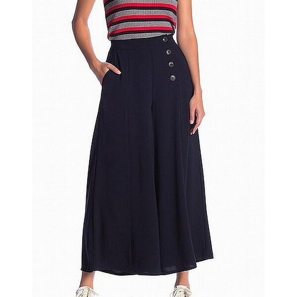 Elodie Midnight Blue Womens Size XL Side Button Wide Leg Dress Pants