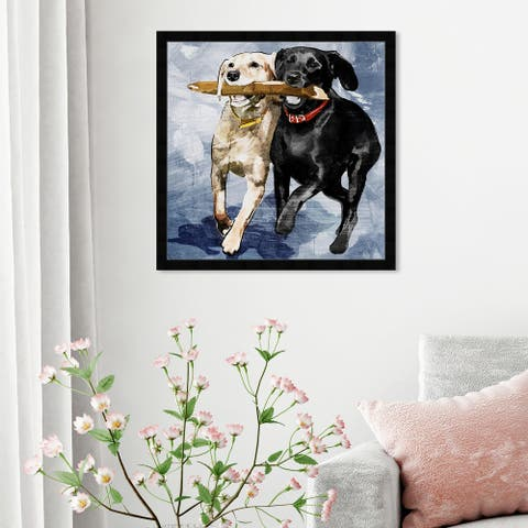 Oliver Gal 'Playtime Blue' Animals Framed Wall Art Prints Dogs and Puppies - Blue, Blue