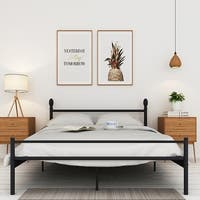 VECELO Full//Queen/Twin size Platform Bed Frame,Box Spring Replacement with Headboard