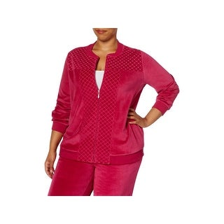 Alfred Dunner Womens Plus Jacket Quilted Embellished