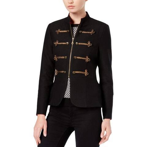 XOXO Black Size Medium M Junior Peplum Frogging Trimmed Jacket