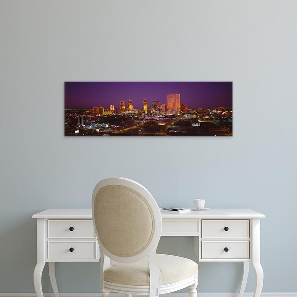 Easy Art Prints Panoramic Images's 'High angle view of skyscrapers lit up at night, Dallas, Texas, USA' Canvas Art