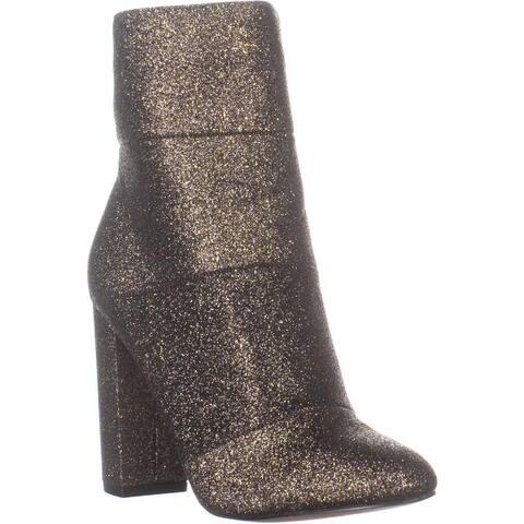 BCBGeneration Coral Block Heel Ankle Boots, Black/Gold