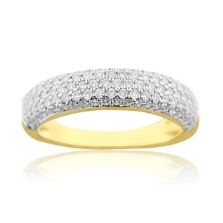 1cttw Diamond Wedding Band Ring Mens 10K Yellow Gold 6mm Wide Dome Shaped (i2/i3, I/j) - White