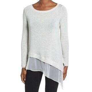 Matty M NEW Gray Womens Size Medium M Scoop-Neck Asymmetrical Knit Top