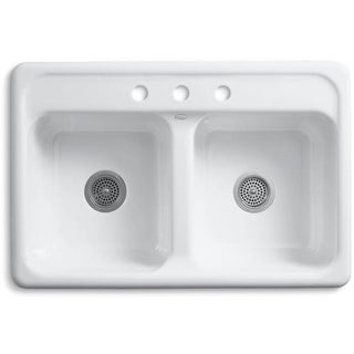 "Kohler K-5817-3 Delafield 33"" Double Basin Top-Mount Enameled Cast-Iron Kitchen Sink"