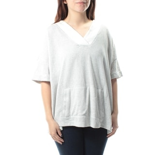 b9142e3bca3a Shop TOMMY HILFIGER Womens Gray Pocketed Striped Dolman Sleeve V Neck Top  Size: S - Free Shipping On Orders Over $45 - Overstock.com - 23450288
