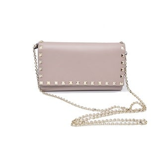 Valentino Womens Rockstud Leather Wallet-on-chain Nude Clutch Shoulder Bag