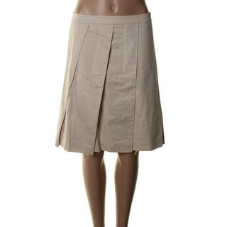 Theory Womens Sarise Cotton Pleated A-Line Skirt - 8