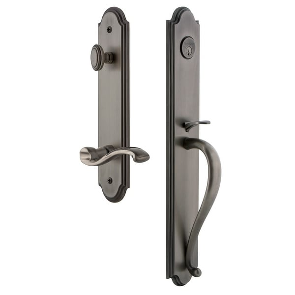 """Grandeur ARCSGRPRT_ESET_238_RH Arc Solid Brass Rose Right Handed Keyed Entry Single Cylinder Full Plate """"S"""" Grip Handleset with"""