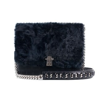 Cavalli Black Leather Navy Tousled Fur Chained Shoulder Bag - S