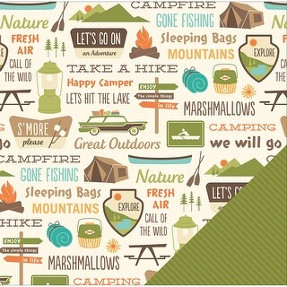 """American Crafts Travel Double-Sided Cardstock 12""""X12""""-Camping Signs"""