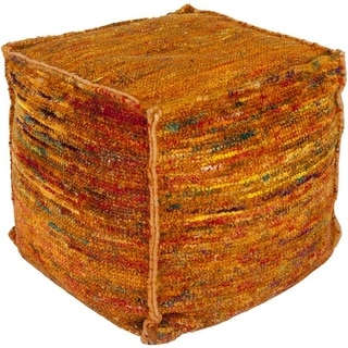 "18"" Rust Orange, Cherry Red and Emerald Green Hand Woven Square Pouf Ottoman"