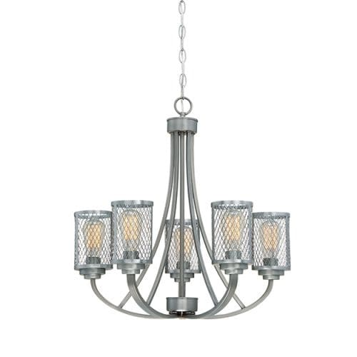 """Millennium Lighting 3265 Akron 5 Light 26"""" Wide Chandelier with Mesh Style Metal Cylinder Shades"""