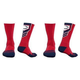 EvoShield Performance Crew Socks (Red w/ Navy Blue & White / Large / 2 Pair)