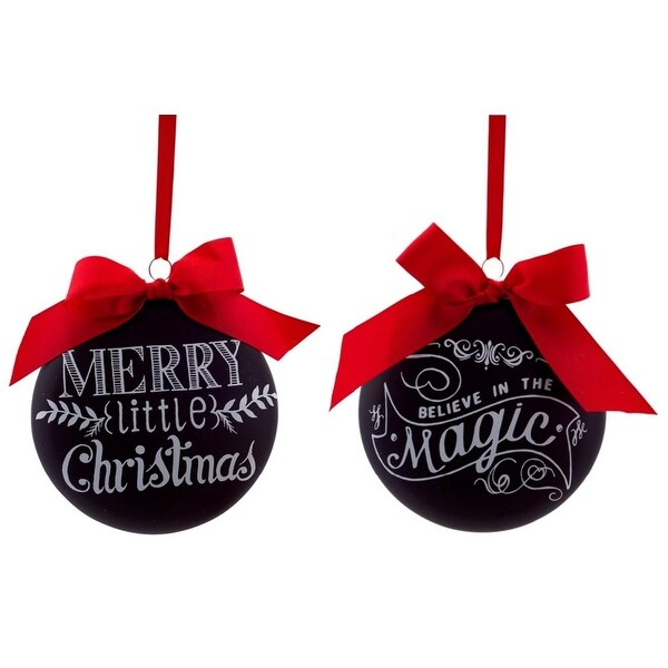 "Pack of 12 ""Merry Little Christmas"" and ""Believe in the Magic"" Disc Christmas Ornaments 5"""