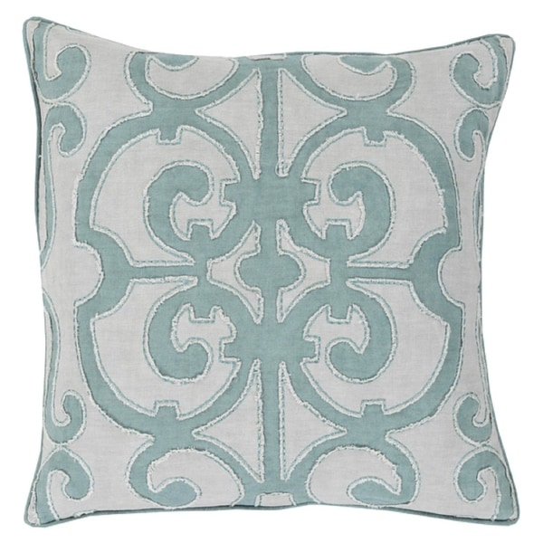 """22"""" Princess Dreams In Shades of Cool Gray Decorative Throw Pillow - Down Filler"""