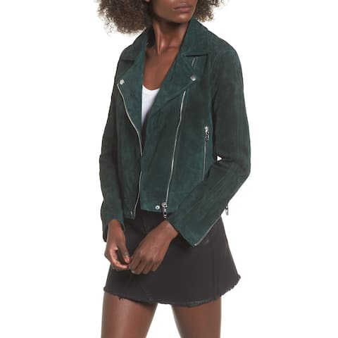 Blank NYC Emerald Green Womens Size Small S Suede Motorcycle Jacket