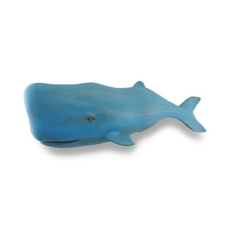 Distressed Verdigris Finish Sculptured Whale Wall Hanging 27 in. - Blue