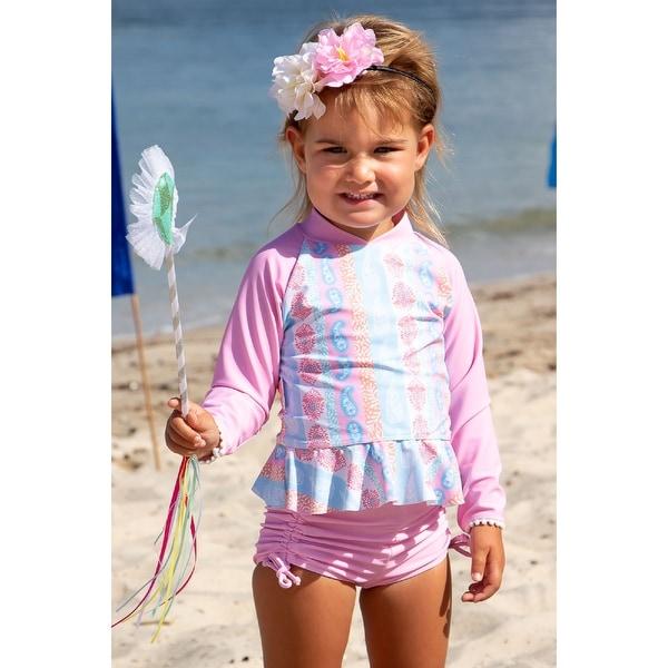 Sun Emporium Arabella Print Long Sleeve Rash Guard Boyleg Set Baby Girls