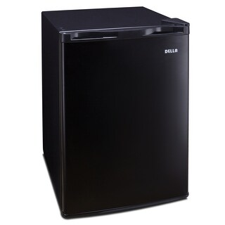 Della 2.6 cu ft Mini Refrigerator Compact Fridge Freezer Cooler Dorm Home Stainless Steel, Black and White