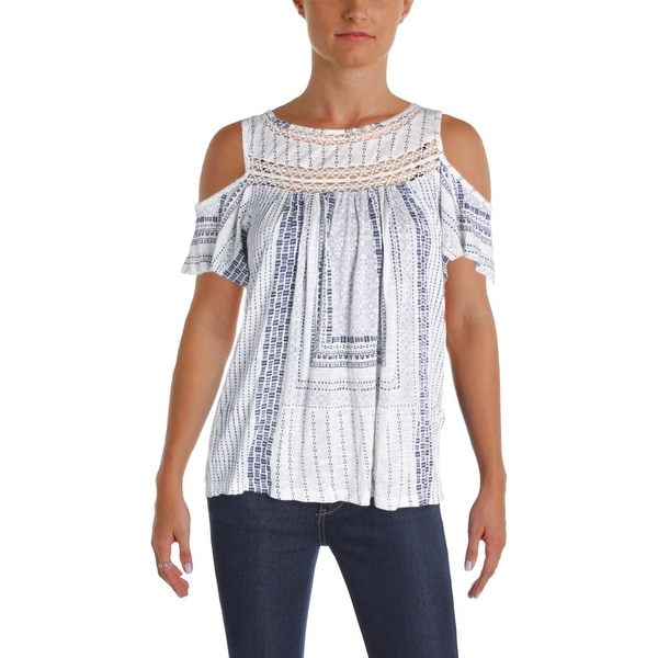 Lucky Brand Womens Casual Top Cold Shoulder Lace Inset
