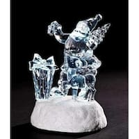 "5.25"" Clear Icy Crystal LED Lighted Santa Claus with Reindeer Christmas Figure"