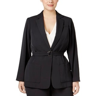 Calvin Klein Womens Plus Jacket Belted Long Sleeves