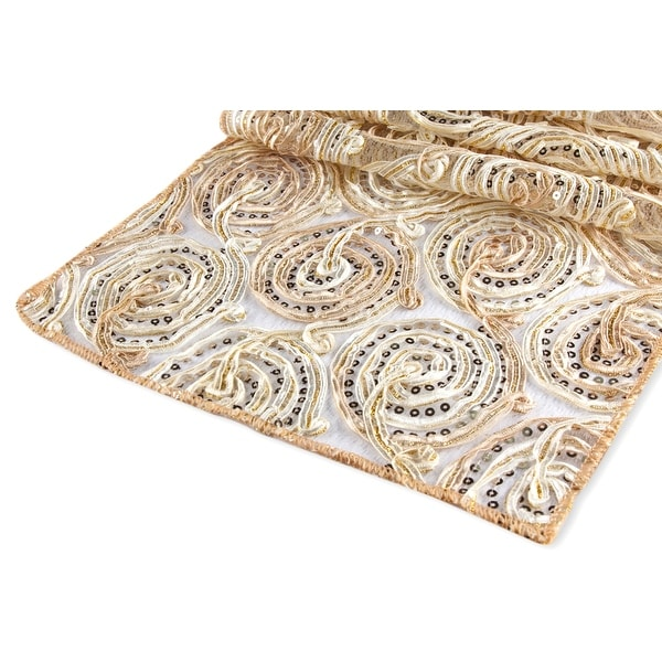 """Ribbon Embroidery w/Sequin Table Runner Approx. 12""""x108"""" Material: Polyester, Organza, Sequin - Champagne, 1 Piece"""