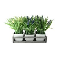 """9.5"""" Decorative Lavender in Off White Petite Vase with Distressed Wood Tray - grey"""