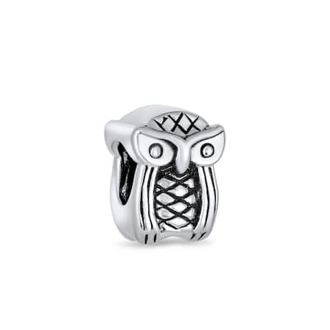 Wise Graduate Owl Bird Charm Bead .925 Sterling Silver