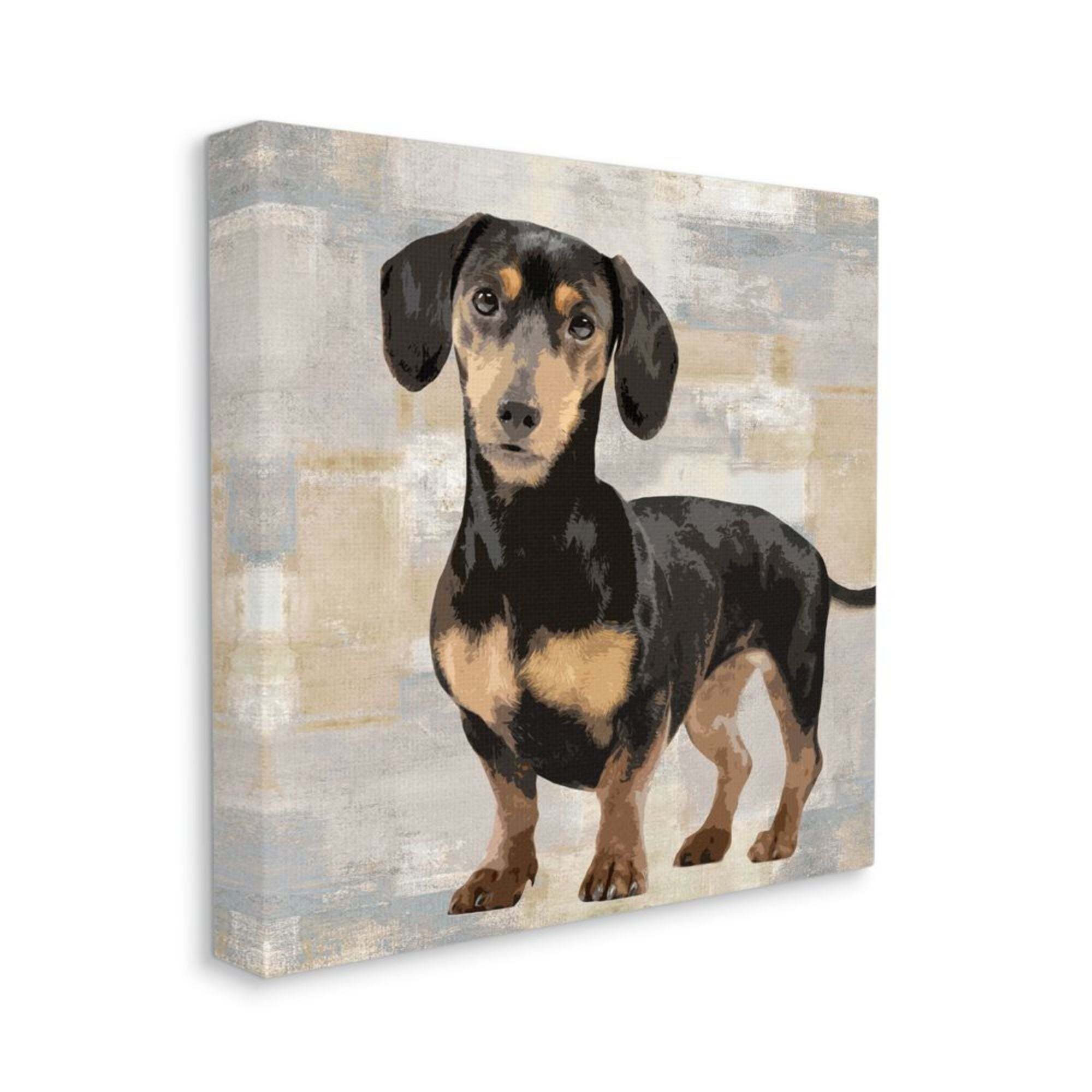 Shop Stupell Industries Dachshund Dog Portrait Neutral Grey Beige Patchwork Canvas Wall Art Overstock 31941651