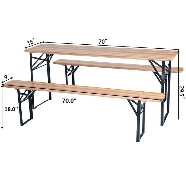 3 PC Firm Garden Outdoor Wood Table and 2 Chairs Folding Dining Set Patio Picnic