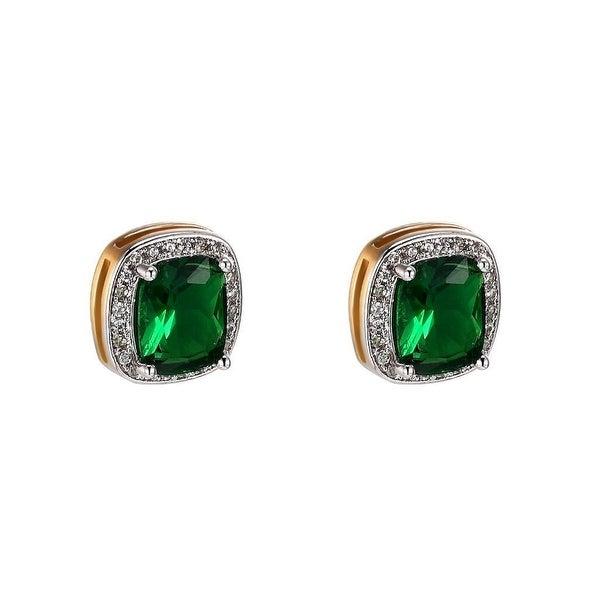 Green Ruby CZ Earrings 14k Gold Tone Solitaire Womens Men 12mm Lab Diamond