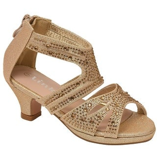 Girls Champagne Stone Adorned Strappy Back Zip Heeled Sandals