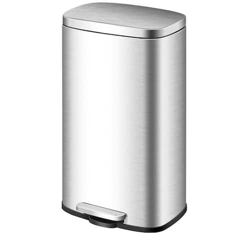 Gymax 8 Gallon Rectangular Trash Garbage Can Stainless Steel Airtight Silent Step Bin