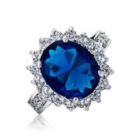 Bling Jewelry Royal 5ct Oval Blue CZ Engagement Ring Rhodium Plated Brass
