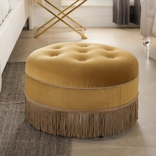 Link to Yolanda Tufted Velvet Decorative Round Footstool Ottoman by Jennifer Taylor Home Similar Items in Cocktail Ottomans