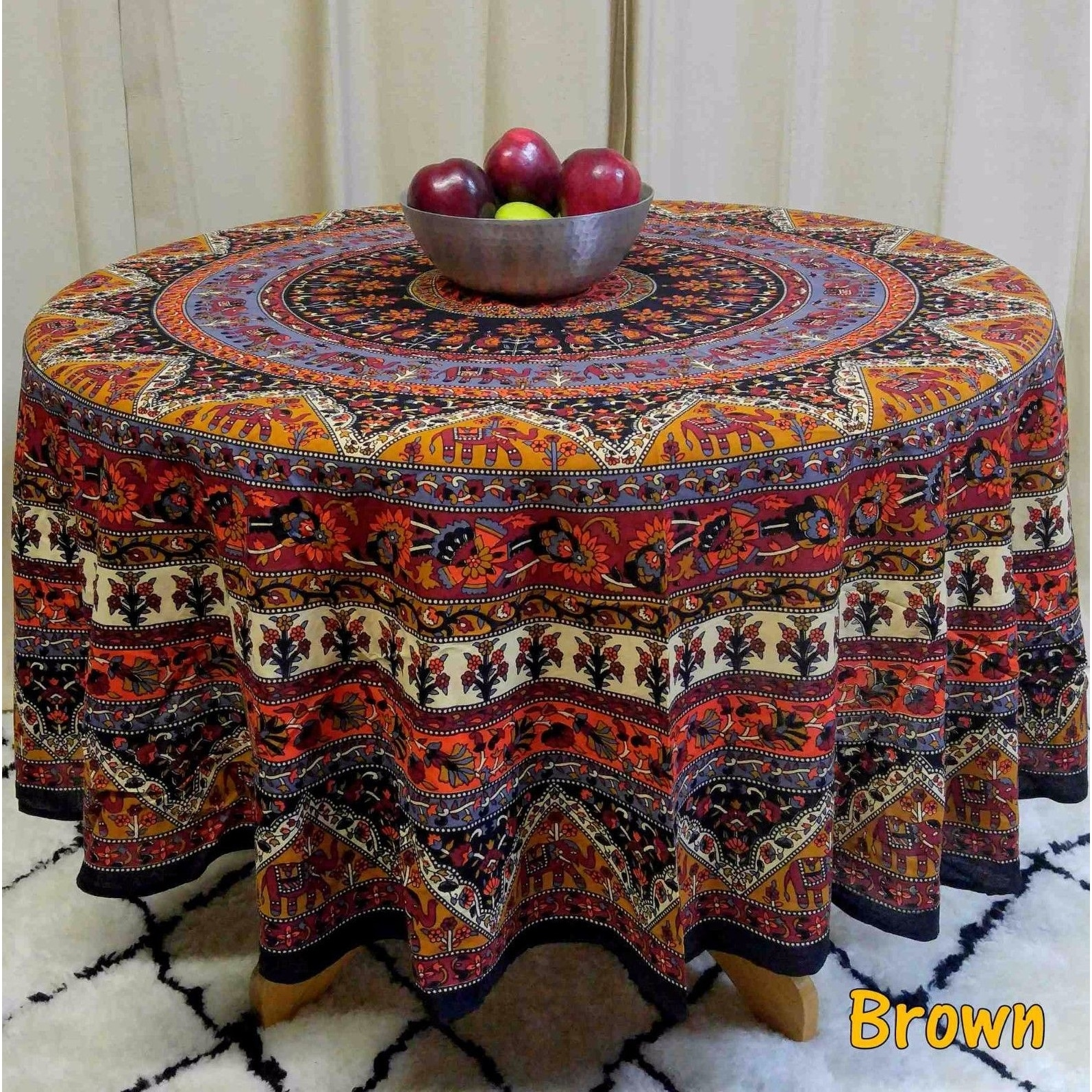 "Handmade Mandala Floral and Elephant Printed Cotton Tablecloth available in Red Blue & Brown in two sizes 76"" Round & 90"" Round - Thumbnail 4"