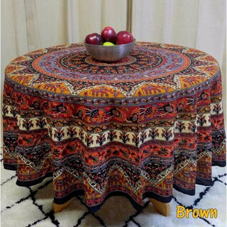 """Handmade Mandala Floral and Elephant Printed Cotton Tablecloth available in Red Blue & Brown in two sizes 76"""" Round & 90"""" Round (More options available)"""