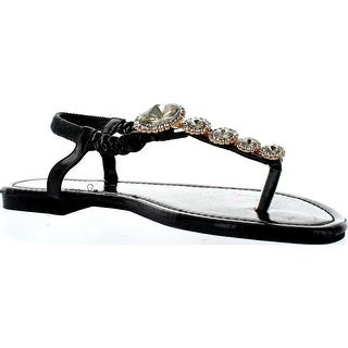 Sunny Day Jayden-19 Womens Braided Thong Toe Beautiful Gem Dress Flat Sandals - Black Suede